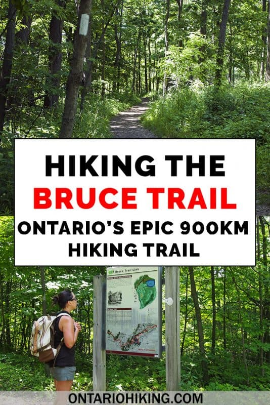 How to hike the Bruce Trail in southern Ontario, Canada. It's the longest continuous trail in the province stretching 900km between Niagara and Tobermory. This Bruce Trail guide will tell you everything you need to know about hiking the trail. #BruceTrail #Hiking #Ontario #Canada #Hike