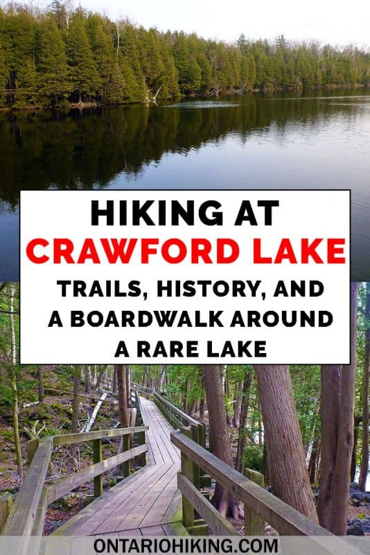 Hiking at Crawford Lake Conservation Area is such a treat! There are 19km of hiking trails, and one of them is a boardwalk around a rare meromictic lake. There's also an Iroquois Village. #CrawfordLake #ConservationArea #Ontario #Canada #Hiking #Trails