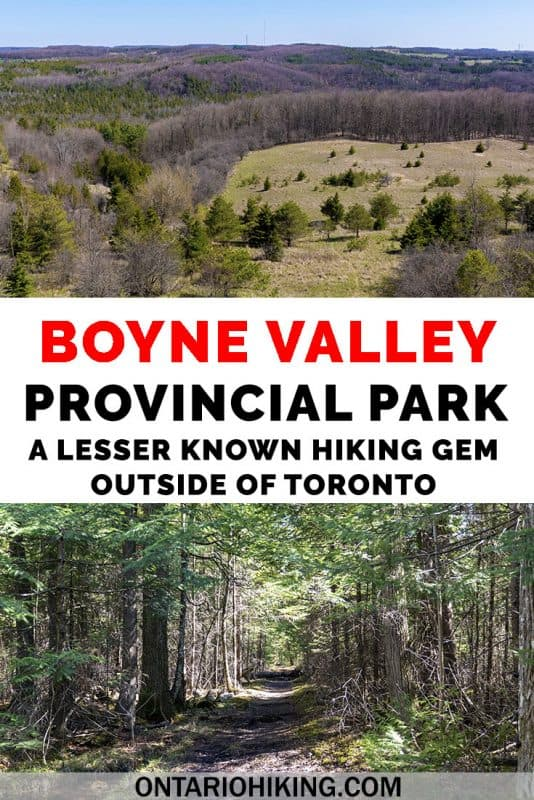 Boyne Valley Provincial Park is a lovely place to go hiking near Orangeville, Ontario. You can hike a section of the Bruce Trail and its side trails through this park. Explore the woodlands, bridges over the Boyne River, and trails that wind through ravines and valleys. #BoyneValley #Hiking #OntarioHiking #Ontario #Canada