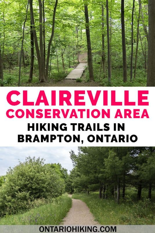 Claireville Conservation Area is one of the best places to go hiking in Brampton, Ontario. There are many side trails and varying scenery, like forests, wetlands, rolling hills, meadows, and creeks. Here's how to take a day hike in Brampton. #Hiking #Ontario #Canada #Brampton #HikingTrails