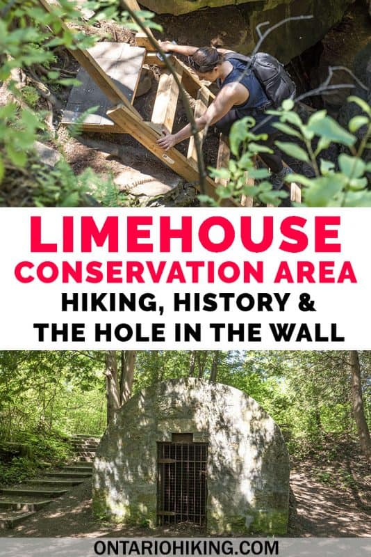 "Limehouse Conservation Area has several hiking trails near Toronto, nestled between Halton Hills and Georgetown, Ontario. You can go hiking at the ""Hole in the Wall"" - unique rock formations and caves. There are also other interesting historical features at the park. #Ontario #Hiking #Canada #Caves #Travel #Outdoors"