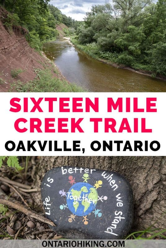 The Sixteen Mile Creek Trail in Oakville, Ontario is a natural escape in the city that you'll love. There are scenic trails, a beautiful lookout, and you'll probably spot some wildlife, too. Here's how you can explore this Oakville hiking trail. #Oakville #Ontario #Canada #Hiking #Trails