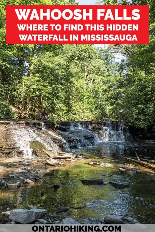 Did you know that there's a secret waterfall in Mississauga, Ontario? Wahoosh Falls is a hidden waterfall in the middle of Mississauga (the GTA / Greater Toronto Area). Here's how you can visit this beautiful cascade waterfall that's very easy to access without much effort! #Waterfall #Mississauga #Ontario #Canada #WahooshFalls