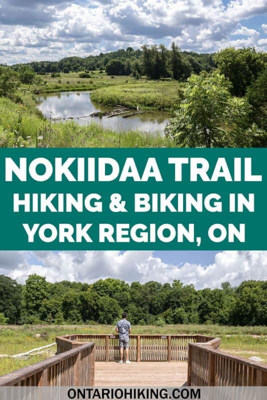 The Nokiidaa Trail spans three communities in York Region, Ontario (East Gwillimbury, Newmarket, and Aurora). It's an amazing hiking and biking path spanning 20km! Here's how to tackle the north section of this Ontario hiking trail. #Ontario #Hiking #YorkRegion #Biking #Canada