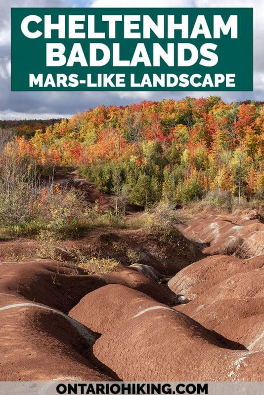 The Cheltenham Badlands is one of the most amazing landscapes in Ontario that looks like Mars! Visit the red rock hills of Caledon, Ontario. It's one of the most iconic hikes in Ontario near Mississauga and Toronto.