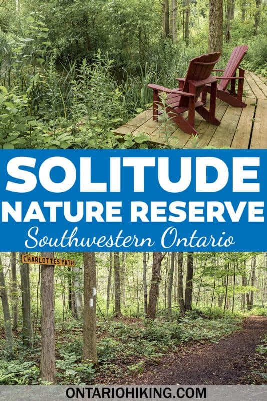 Solitude Nature Reserve is a beautiful place to go hiking near Port Stanley, Ontario. It's a peaceful place in nature with wildlife, wetlands, and flowers.